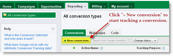 "Click ""+ New conversion"" to start tracking a conversion."
